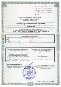 Приложение к лицензии на ведение образовательной деятельности