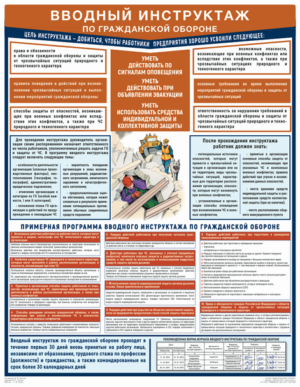 """""""Вводный инструктаж по гражданской обороне"""" - 1 плакат 465*600 мм"""