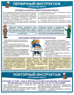 """""""Первичный инструктаж на рабочем месте"""" - плакат (465 х 610 мм)"""